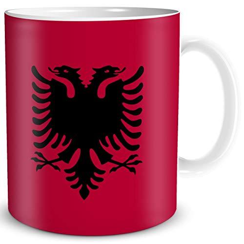 TRIOSK Tasse Flagge Albanien Länder Flaggen Geschenk Balkan Souvenir Albania für Reiselustige Frauen Männer Arbeit Büro Weltenbummler