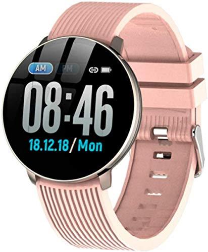 Reloj inteligente IP67 resistente al agua, presión arterial y frecuencia cardíaca, pulsera deportiva para hombres y mujeres, color rosa