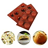 6 Holes Half Ball Silicone Molds for Baking, Sphere Dome Molds for Making Muffin, Jello, Candy,...