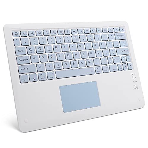 GOOJODOQ Touchpad - Teclado Bluetooth, Ultrafino, portátil, Bluetooth 3.0, inalámbrico, aplicado a iOS (13 o Superior) / Android Tablet Smartphone (Azul) -12 Pulgadas