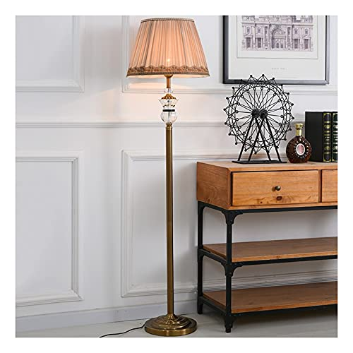 Indoor Crystal Floor Lamp, Moderne staande lamp met stoffen tint voor de woonkamer en slaapkamer, LED High Pole…