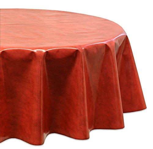 Wachstuchtischdecke OVAL RUND ECKIG Farbe u. Größe wählbar, Tischdecke Wachstuch abwischbar, Marmor (Rot Rund 140)