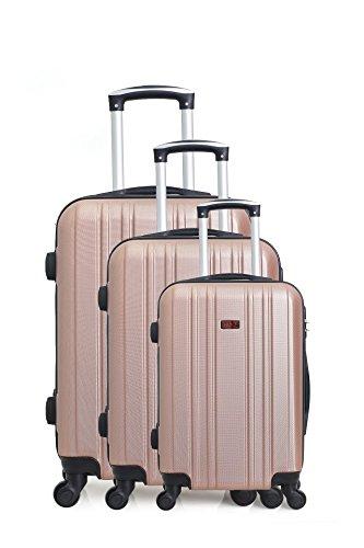 Hero stroomboli kofferset, 76 cm, 189 liter, roze (roze)