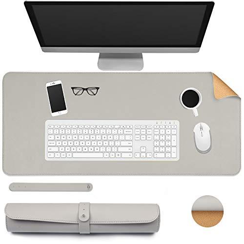 Ewolee Alfombrilla de escritorio de oficina de 70 x 30 cm de corcho natural, de piel sintética, antideslizante, impermeable, alfombrilla de ratón para oficina, hogar, escuela (gris + corcho)