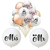 Globos Gigantes de la Boda de la Miss Mr, Globo de Confeti Regalo Romántico de San Valentín Telón de Fondo de Decoración de Fiesta de Aniversario de Cumpleaños (2+15PCS, 36pulgadas+12pulgadas)