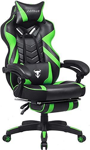 Gaming Stuhl für Erwachsene, Gaming Stuhl mit Fußstütze, Computer Stuhl mit Massage, Ergonomisch Gaming Stuhl, Hohe Rückenlehne Racing Drehstuhl, E-Sport Gamer Stuhl, Gaming Schreibtisch Stuhl (Grün)