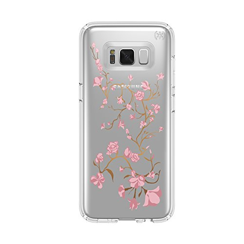 Speck Products Presidio Clear + Print Cell Phone Case for Samsung Galaxy S8 - Golden Blossoms Pink/Clear