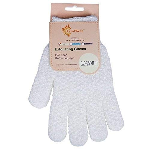 Evridwear Exfoliating Dual Texture Bath Gloves for Shower, Spa, Massage and Body Scrubs, Dead Skin Cell Remover, Gloves with Hanging Loop (1 Pair Light Glove)