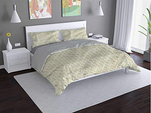 Toopeek Damask Quilt cover 3-piece set Symmetrical-Old-Flowers Super soft and easy to maintain (Full)