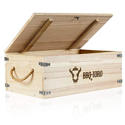 BBQ-Toro Rustikale Holzkiste für Dutch Oven und Grillzubehör I 27,5 Liter Volumen I (B) 54 x (T) 33 x (H) 21 cm I Kiste aus Holz für Grillplatte, Grillrost und Zubehör