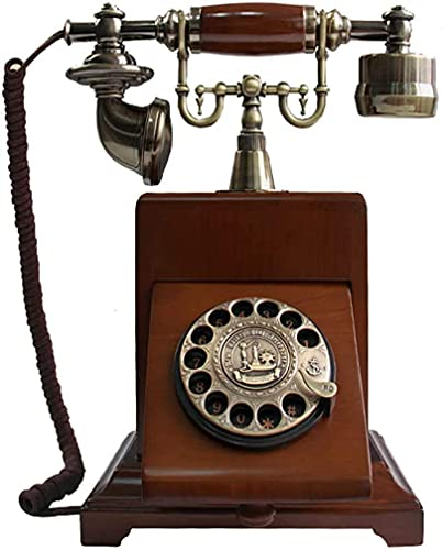 LDDZB Teléfono retro europeo Cuerpo de madera maciza retro giratorio Dial vintage teléfono con cable fijo