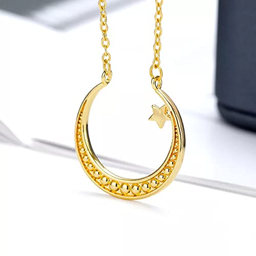QiuYueShangMao Colgante de Collar Collares de Cuentas Redondas de Estrella de Luna Grande para Mujer Cadena de Color Dorado de Acero Inoxidable Colgante de Luna joyería estética Regalo para Ella