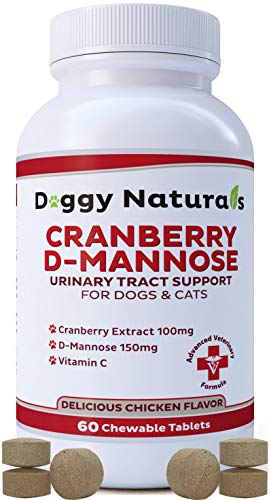 Cranberry D Mannose for Dogs and Cats Urinary Tract Infection Support Prevents and Eliminates UTI, Bladder Infection Kidney Support, Antioxidant