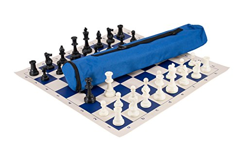 Quiver Chess Set Combination - Triple Weighted - by US Chess Federation (Royal Blue)