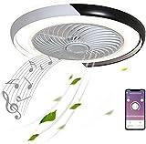 LED nero muto Ventilatori da soffitto con lampada altoparlante Bluetooth Musica dimmerabile con app telecomando moderno invisibile Fan plafoniere per soggiorno, camera da letto, cameretta dei bambini