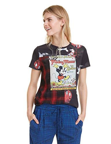Desigual Damen Micky Maus T-Shirt, Schwarz (Negro 2000), Small (Herstellergröße: S)
