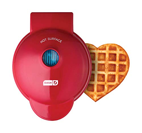 Dash DMW001HR Machine for Individual, Paninis, Hash Browns, & other Mini waffle maker, 4 inch, Red Heart