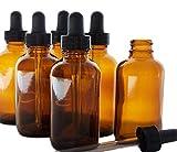 Vikenner 6 Stück Make-up Container Braunglasflasche leere braune Glasflasche Tragbare Reiseflaschen Reiseset Transparente ätherische Öle Parfüms Boston Round Flaschen Tropfer Pipetten 50ml