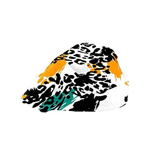Damen Kappe für langes Haar Arbeitsmütze mit Schweißband Elastisch Verstellbar Arbeitskappen für Männer Arbeiten Kopftuch 3D Gedruckt Hüte Gepunktet Print Leopard Gepard Pelz