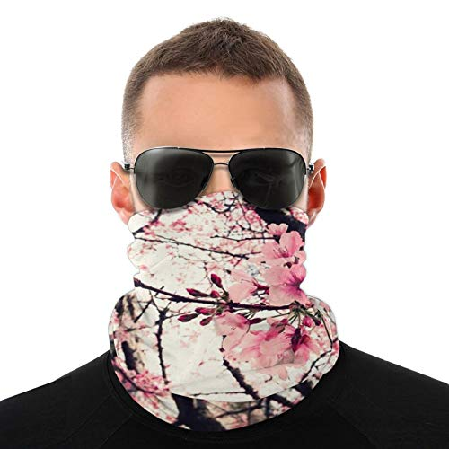 Winter Neck Gaiter Cover Sakura Blossom Japanese Face Scarf for Men Women, Windproof Neck Warmers Gaiters Headwear for Running, UV Protection, Skiing, Breathable