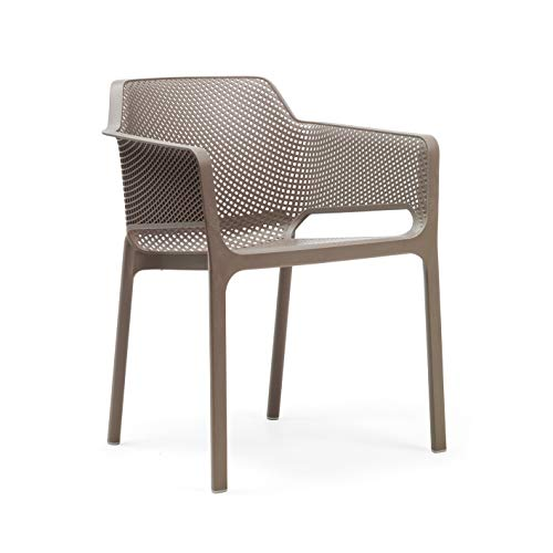 Nardi NET - Italienischer Gartenstuhl mit Armlehnen, Kunststoff mit Lochmuster | Monoblock Sessel voll durchgefärbt (Tortora)