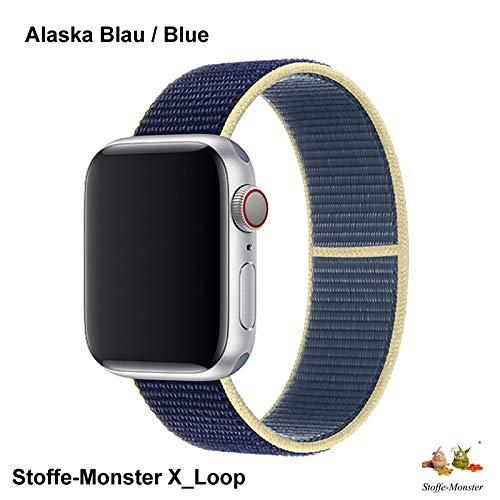 Stoffe-Monster X_Loop Watch Armband Sport Alaska blau Blue 42mm / 44mm