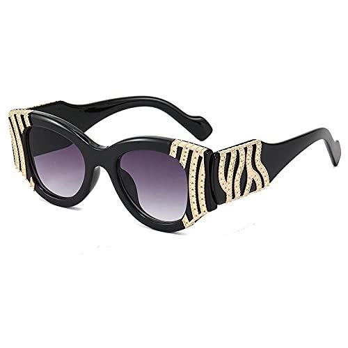 Gosunfly INS europäischer und amerikanischer Trend europäischer und weißer Spiegel Damen Sonnenbrillenbrille-Black Box doppelte graue Folie