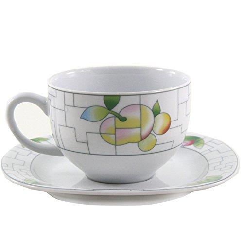 THUN Leon Puzzle Kaffee-Tasse und Untertasse, Porzellan, Weiß, 15x 15x 9cm
