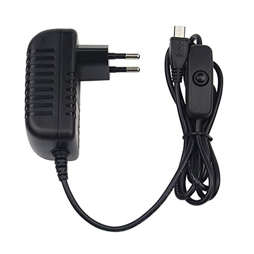 QiKun-Home 5V 3A Cargador de Fuente de alimentación Adaptador de CA Cable Micro USB con Interruptor de Encendido/Apagado para Raspberry Pi 3 pi Pro Modelo B B + Plus Negro