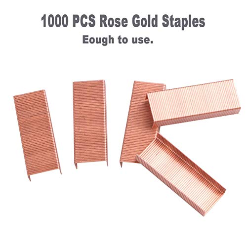 Rose Gold Desk Accessories Set - Transparent Rose Gold Acrylic Desktop Stapler with 1000 PCS Rose Gold Staples and 15 Pieces Blinder Clips for Home School Office Supplies Stationery Desk Accessory Photo #3