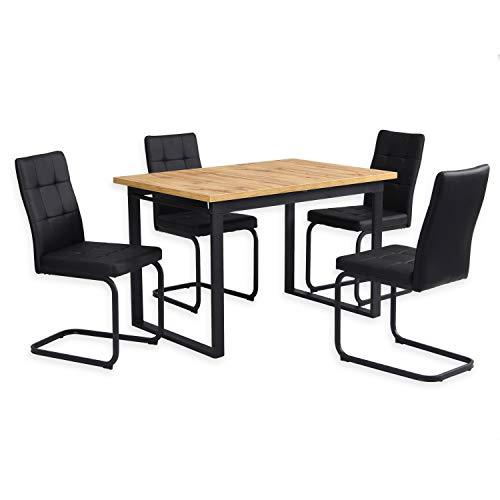 B&D home - Essgruppe mit 4 Stühlen | Esstisch ausziehbar 120-160x80 cm - Wild Eichen-Optik | Freischwinger Stühle