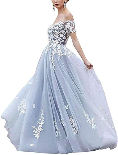 Melisa Off The Shoulder Long Wedding Dresses for Bride with Train Lace Applique Sweetheart Bridal Ball Gowns Light Blue