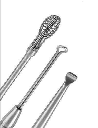louaneo® Ear Clean Removal Kit, Ear Wax Remover, Ohren Reiniger Edelstahl, Ohrschmalz Entferner zur Ohr-Reinigung. Medizinischer Ohrenreiniger als Wattestäbchen Alternative | Werkzeugset