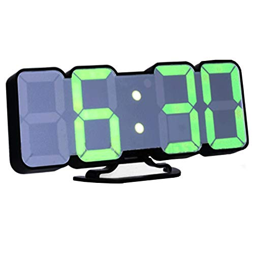 EAAGD 3D Wireless Remote Digital Wall Alarm Clock, with 115 Color Variations of LED Digital, Voice Control Mode, Remote Controller, 3 Levels of Brightness to Adjust (Black)