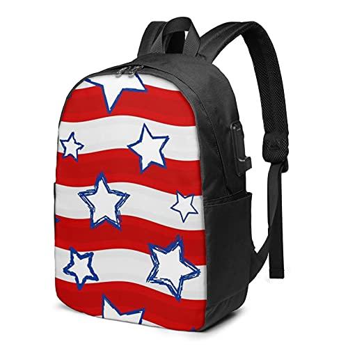 Stars Stripes - Zaino da viaggio con porta di ricarica USB per uomini e donne da 17', Come mostrato, Taglia unica,