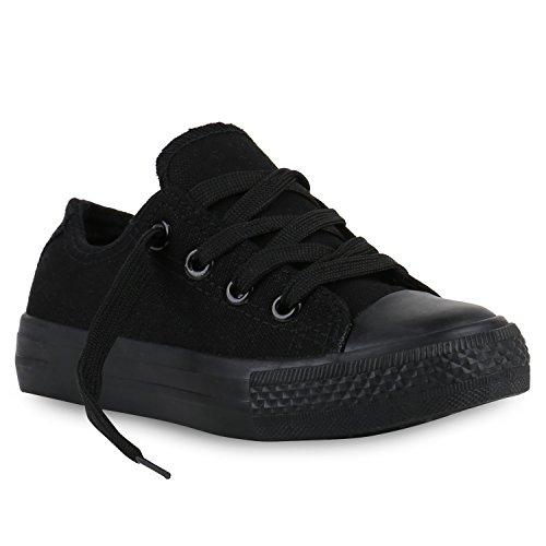 Stiefelparadies Kinder Sneakers Viele Farben Sportschuhe Turnschuhe Schnürschuhe 139818 Schwarz Black 29 Flandell