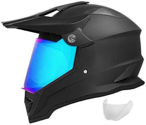 GDM DK-650 Dual Sport Motorcycle Helmet (Matte Black, Iridium & Clear Shields, X-Large)