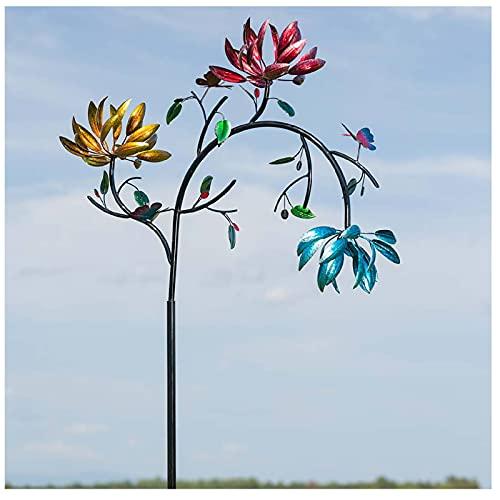 Vintage Metall Blumen Wind Spinner mit Stehpol, Garten Windmühle Garten Windmühle Windrad Gartenpfahl Gartenstecker Gartendeko Windspiel Garten Wetterfest Rasen Dekoration (Blumen)