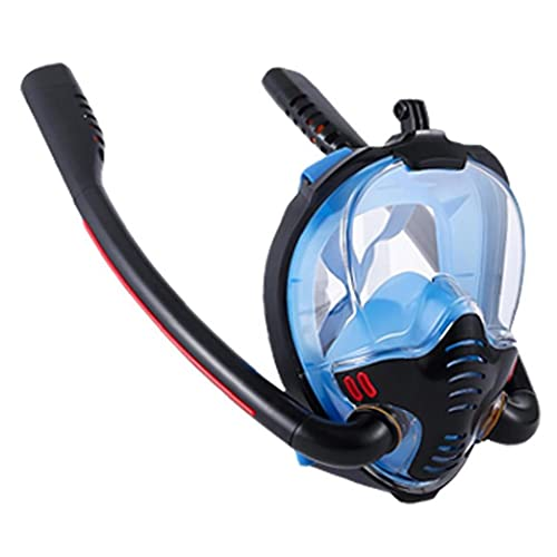 Tubo de Snorkel Careta de protección de la Cara Llena Doble Buceo silicón de la Cara Cubierta Que aisla vaho y Anti-Fugas Negro Azul L XL Tamaño