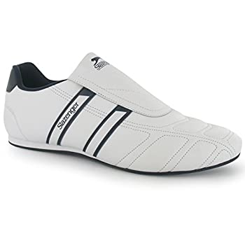 Slazenger Mens Warrior Trainers Slip On Leather Sports Shoes Footwear White/Navy 10.5