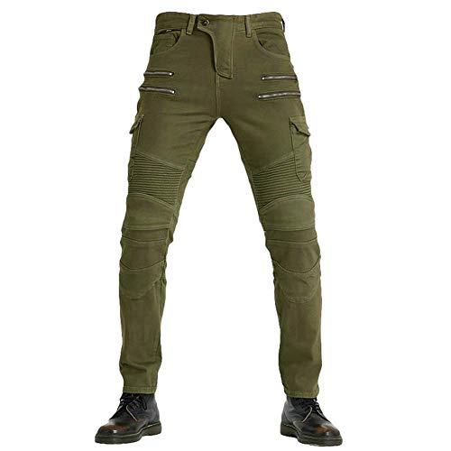 Yuanu Uomo Donna Jeans Elastico Cerniera Pantaloni Protettivi con 2 Protezioni Ginocchia e 2 Protettori Anca Moto Biker Anti-Caduta Denim Pantaloni da Moto Protettivo Verde 27W / 41L