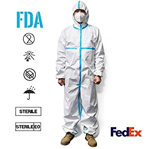 HEEHIPO Disposable Protective Coverall Suit,White,Long Front Zipper,Elastic Waistband & Cuffs,Isolation Suit 1PC