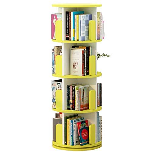 Librero Giratorio Estantería de Esquina con Deflector Anti-caída, 131cm de Altura Grande Librero para Sala de Estar/Dormitorio/Uso de Espacio Pequeño (Color : Yellow)