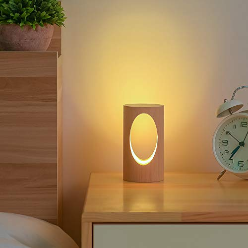 Small Night Lights Bedside Table Lamps Minimalist Solid Wood Table Lamp Bedside Desk Lamp with Wood Cylindrical Shade for Bedroom Dresser Living Room Kids Room DimmableLighting Gift Camping Lights