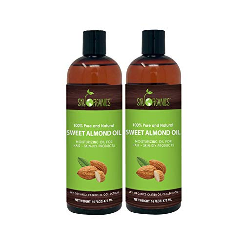 Sweet Almond Oil by Sky Organics (16oz Large Bottle x 2 Pack) 100% Pure, Cold-Pressed, Organic Almond Oil. Great As Baby Oil- Anti- Wrinkles- Anti-Aging. Almond Oil- Carrier Oil for Massage & Bath