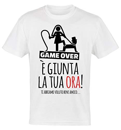 My Digital Print T-Shirt Addio al Celibato, E' Giunta la Tua Ora Amico!, Sposo Matrimonio (Bianco, L IT Uomo)