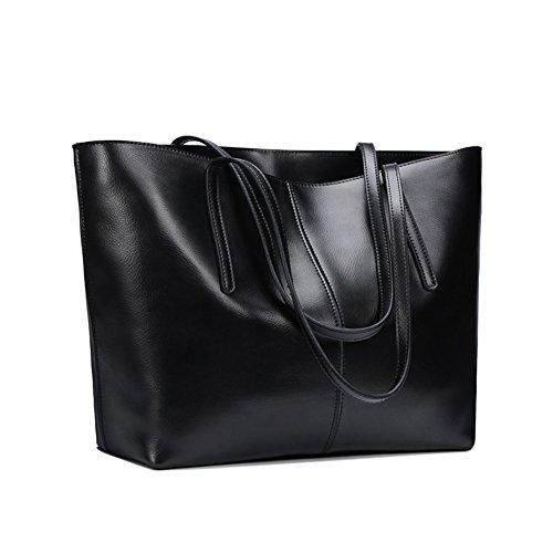 S-ZONE Damen Schultertasche Echtes Leder 14 Inch Laptoptasche Shopper Henkeltasche Elegant Handtasche für Schule Büro Reise Einkaufen