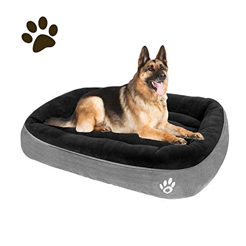 CLOUDZONE Large Dog Bed for Large/Medium/Small Dogs Thickened Enough Pet Bed with Machine Washable Soft Coral Fleece and Non-Slip Bottom Dog Bed Large