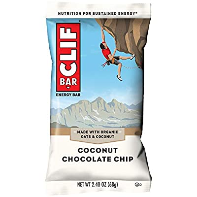CLIF BARS - Energy Bars - Coconut Chocolate Chip - Made with Organic Oats - Plant Based Food - Vegetarian - Kosher (2.4 Ounce Protein Bars, 12 Count)