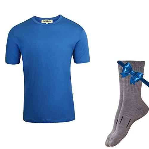 Merino.tech 100% NZ Organic Merino Wool Lightweight Men's T-Shirt + Merino Wool Hiking Socks Bundle | Short Sleeve Crew Tee | Moisture Wicking | No Odor | UPF 25 (Medium, Sky Blue)